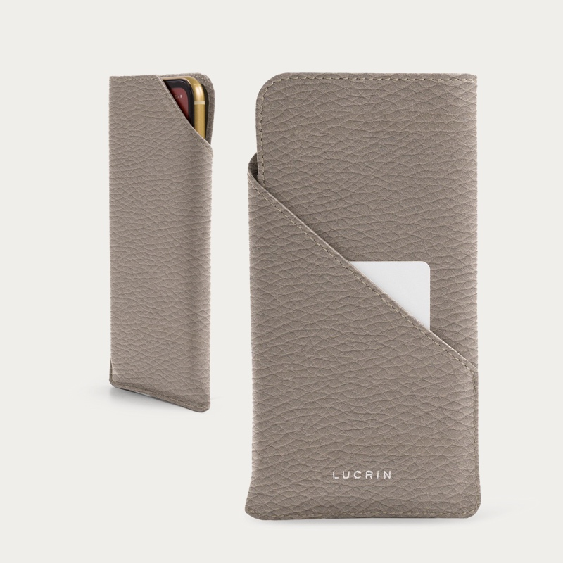 iPhone 11 Pro デザイナーケース - Light Taupe - Granulated Leather
