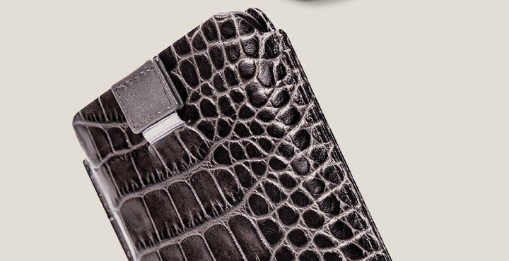 iPhone 11 Pro プルアップタブ付きケース - Mouse-Grey - Crocodile style calfskin