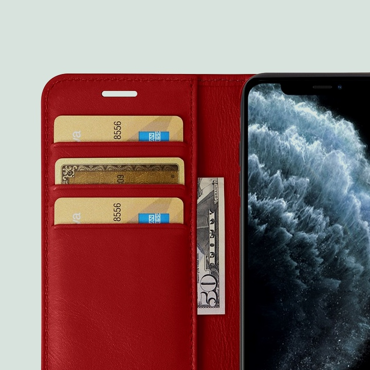 iPhone 11 Pro Maxウォレットケース - Red - Smooth Leather
