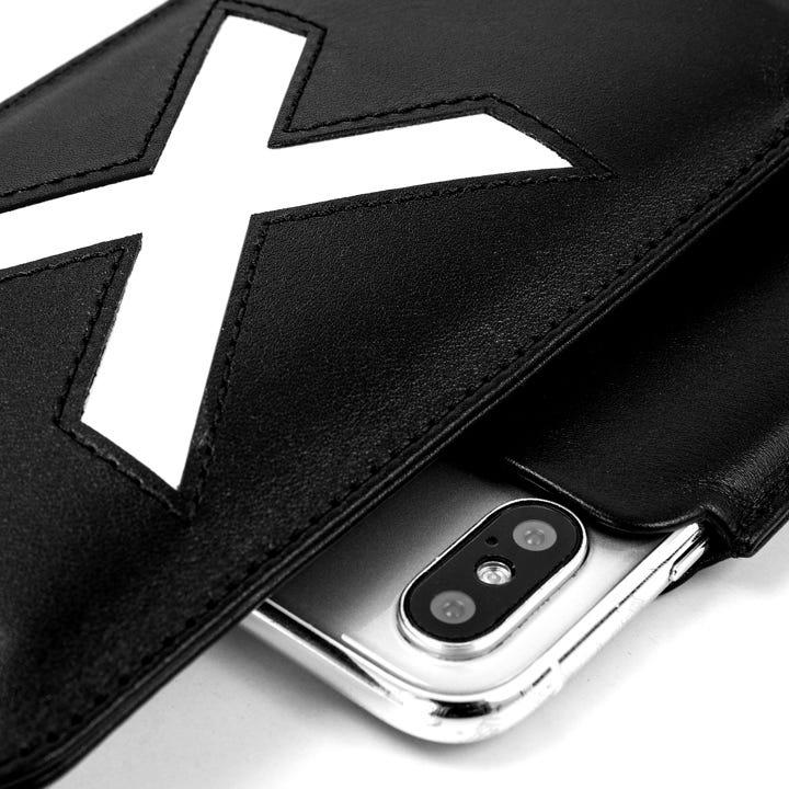 iPhone X用ケース スペシャルエディション - Black-White - Smooth Leather